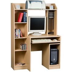 "Orion Computer Workcenter, MapleMeasures: 41.50""L x 19.5""W x 59.50""H for 119 Bookshelf Desk, Bookshelves, Custom Fireplace Screens, School Office, Storage Spaces, Corner Desk, Walmart, Desks, Organize"
