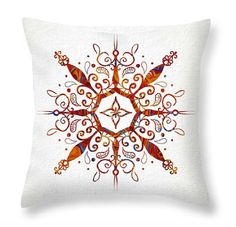 Orange and Blue Throw PillowMandala Throw by PatLintnerFineArt