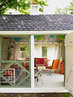 Raise the Roof :: With some DIY and design smarts, a crumbling early 1900s shed was converted into an airy living space to entertain guests. The roof of the shed was raised to give the 22x13-foot structure a bit of breathing room and was then re-covered with leftover shingles. Sustainable solutions were used, such as reusing furniture already in their collection and repainting vintage shutters.
