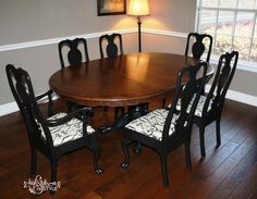 Dining table and chairs ReStyled with #GeneralFinishes Lamp Black and Walnut gel stain.  Visit http://www.highstylerestyle.com/ to learn more tips & techniques or follow us on Facebook!