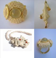 "rings, necklace and pendentif made with ""brain coral"" found on the beach in Bahia, Brazil. Brain Coral, Jewellery, Beach, Rings, Bahia, Pendant, Nice Asses, Jewelery, The Beach"
