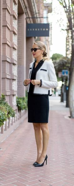 This impeccably tailored jacket with elegant black satin-looped trim can be perfect paired with a black sheath dress for the office, or jeans for a dinner date.