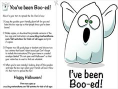 Halloween: I've been BOO-ed!  Riverbend Home Blog - http://www.blog.riverbendhome.com/fall-activities-for-kids-of-all-ages/