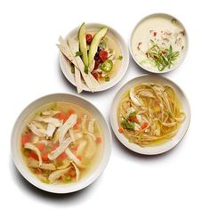 How to mix up Chicken Soup in 10 different ways! | http://www.rachaelraymag.com/recipe/chicken-soup-10-ways/