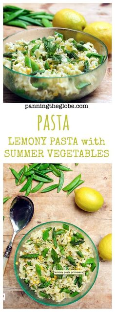 Lemony Pasta: frilly noodles tossed with crisp-tender asparagus, sugar snap peas, and corn, in a bright lemony sauce with parmesan, basil and cracked pepper.