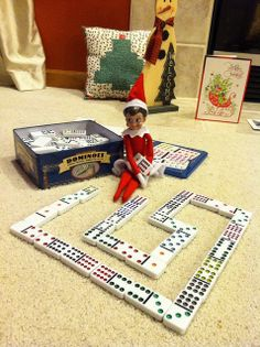 Dominoes Elf on the Shelf - Snowy by mbaylor, via Flickr. Click for more ideas!  #elfontheshelf