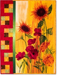 Sunflower Panel Quilt. S).AMAZINGLY BEAUTIFUL...SO MUCH TALENT...LOVE THIS Nice border on the left - accentuates the panel