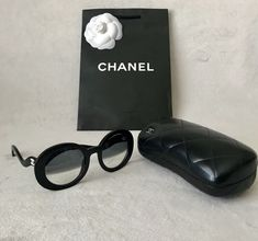 a67df52b9764 Authentic Chanel 5018 Black Round Half Tint Sunglasses with white CC Logo  and Wavy Arm.