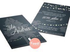 Romantikus esküvői meghívó kerti fényfüzérekkel | Romantic garden and night light wedding invitation card