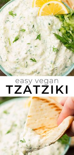 Easy Vegan Tzatziki Sauce Recipe with no nuts! Perfect with Falafel. Easy Vegan Tzatziki Sauce Recipe with no nuts! Perfect with Falafel. Vegan Tzatziki Sauce Recipe, Sauce Tzatziki, Tzatziki Recipes, Sauce Recipes, Diet Recipes, Cooking Recipes, Healthy Recipes, Food Dinners, Vegan Recipes