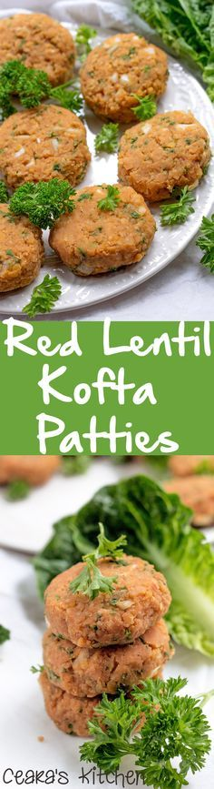 Red Lentil Kofta (Mercimek Köftesi) - the PERFECT patty texture! A traditionally Turkish appetizer or side. SO incredibly flavorful + easy to whip up. Enjoy warm right away or later with a salad cold as an appetizer or side. #healthy #summer #turkishfood #vegan #healthy #appetizer #side