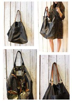 FRANCESCA a beautiful handmade Italian Vintage Black Leather bag\luggage di LaSellerieLimited su Etsy