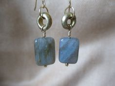 Labradorite makes everything special.....these labradorite and brass earrings are great for everyday wear!
