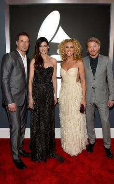 Little Big Town - 2013 Grammys. Karen Fairchild (in Dolce  Gabbana), Kimberly Schlapman, Jimi Westbrook and Phillip Sweet look great all glammed up.