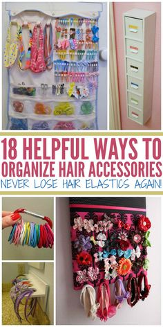 to Organize Hair Accessories {Never Lose Hair Elastics Again!} How to Organize Hair Accessories {Never Lose Hair Elastics Again!} - One Crazy HouseHow to Organize Hair Accessories {Never Lose Hair Elastics Again!} - One Crazy House Hair Clip Storage, Hair Clip Organizer, Hair Product Storage, Hair Product Organization, Hair Elastic Storage, Hair Bow Organization, Headband Storage, Girls Room Organization, Diy Headband