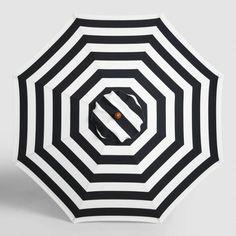 Black Awning Stripe 9 ft Umbrella Canopy - v1