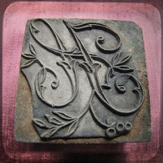 Antique French embroidery block stamp letter H with leaves - printing monogram letter on fabric