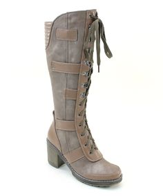 Another great find on #zulily! Italina Tan Lace-Up Combat Boot by Italina #zulilyfinds