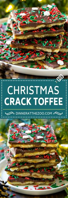 This Christmas crack is saltine toffee made with crackers, brown sugar, butter, chocolate and holiday sprinkles. A sweet and salty treat! Christmas Candy, Christmas Baking, Christmas Treats, Holiday Treats, Holiday Recipes, Christmas Cookies, Christmas Recipes, Christmas Crackers, Christmas Desserts