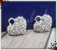 4 Silver Plated Crystal Heart Charms 13mm by sugabeads on Etsy