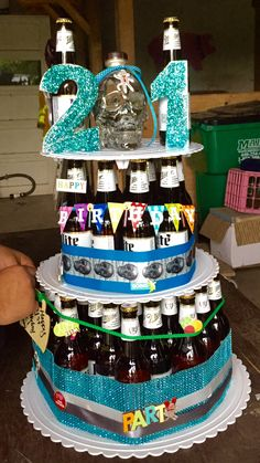 Beer Cake I Made For My Boyfriends Birthday Topped With Crystal Head Vodka