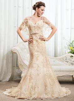 Trumpet/Mermaid Off-the-Shoulder Chapel Train Beading Sequins Zipper Up Spaghetti Straps Short Sleeves Beach General Plus No Spring Summer Fall Champagne Lace Wedding Dress