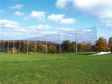 """Golf range nets, larger view. We provide heavy-duty poly-range netting for stopping golf stray shots. Many sizes are available. We also offer custom design range barrier netting in two standard sizes which are: #K6168A - Golf barrier netting 150' x 6 1/2' - 1"""" Black - 220# burst and #K6132A - Golf barrier netting 150' x 24' - 1"""" Black - 220# burst."""