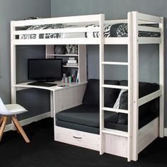 Finished in a clean, modern whitewash this solid wood high sleeper loft bed from. - Finished in a clean, modern whitewash this solid wood high sleeper loft bed from Thuka is great for older kids, teens and adults. It's a full size bed, accessib Bunk Beds For Girls Room, Bunk Bed With Desk, Teen Loft Beds, Diy Bed Loft, Full Bed Loft, Girl Loft Beds, Kids Beds For Boys, Girls Bedroom, Loft Bunk Beds