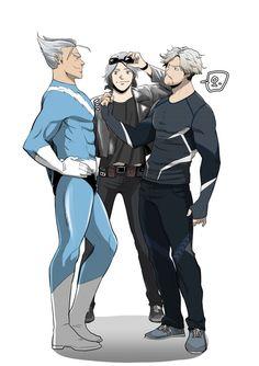 Quicksilver (comics) meets Quicksilver (Age of Ultron) and Quicksilver (X-men DOFP) Maximoff twins by mulecans