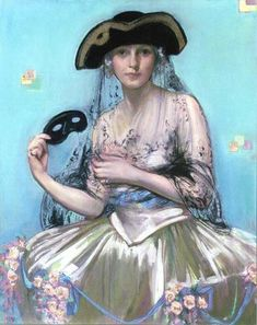 Neysa McMein - Kelly Collection American Illustration Art Woman at Masquerade Ball, (35 x 28 inches) 1922. Pastel on paper.