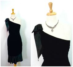 80s Black Velvet Dress Bodycon One Shoulder Bow by Glenrob Ltd