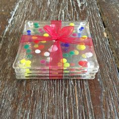Gorgeous set of four handmade fused glass coasters, featuring a fun, bold and brightly coloured dotty design. Glass Magnets, Glass Coasters, Glass Fusion Ideas, Unique Gifts, Handmade Gifts, Stained Glass Crafts, Glass Design, Coaster Set, Fused Glass
