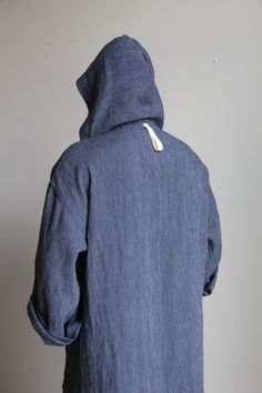 63eca54c31 Blue pinstriped mens Kaftan. Pure wrinkled linen mens tunic. Contemporary  design hooded caftan
