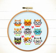 Modern+Funny+Cute+Cross+stitch+pattern+PDF+-+I+Love+Catsss+  *ONLY+PAYPAL.+NO+STRIPE+(SORRY) OR+visit+our+Etsy+Shop+:+redbeardesign.etsy.com+  Cats+are+cute+and+soft,+give+us+a+lot+of+joy!!!+There+are+9+different+adorable+kitten+face+with+love.+A+warm+love+cross+stitch+pattern+for+kitten+lov...