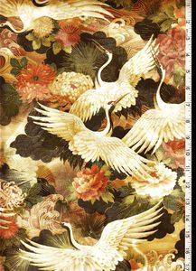Oriental Traditions - Large Cranes Flying - Last 2 3/4 yards :