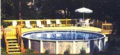 Above Ground Pools with Decks Showcasing Modern Living: Elegant Modern Style Above Ground Pool Deck Design Ideas