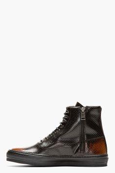 b7260e2b4 ALEXANDER MCQUEEN Black Punch-Hole High-Top Zip Sneakers Alexander Mcqueen  Sneakers