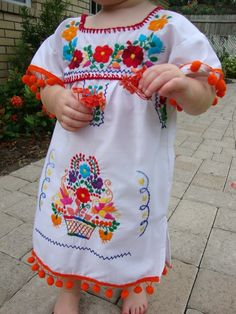 Girl's Butterfly & Flower Embroidered Mexican Dress | Children's ...