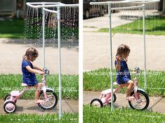 car wash..riding bikes and getting wet!