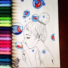 All it takes is a little imagination. • • #Fish #Bubbles #Drawing #Markers #Inked #InstaArt #Imagination #Girl #Colors #FancyHair #Art #Artist #ArtWork #Photo #Photography