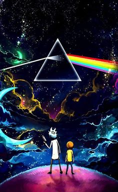 Rick and Morty finds The Dark Side of the Moon from Pink Floyd Trippy Wallpaper, Galaxy Wallpaper, Cartoon Wallpaper, Wallpaper Backgrounds, Wallpaper Art, Iphone Backgrounds, Photo Wallpaper, Screen Wallpaper, Pink Floyd Dark Side