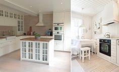 Белая вагонка в интерьере кухни