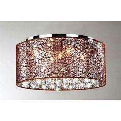 Brown Drum Crystal Chrome Flush Ceiling Pendant Chandelier Light Fixture NWO1115 | eBay