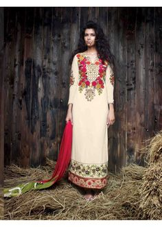 Awe inspiring  embroidered and resham work designer suit displaying a feel of sensuality.