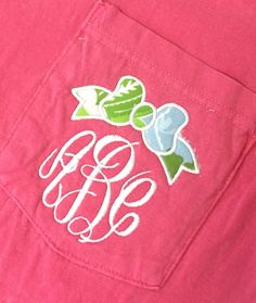 Monogram Pocket Tee Short Sleeve Shirt with Lilly Pulitzer Bow Appliqué Font shown MASTER CIRCLE in white by MONOGRAMSINC on Etsy https://www.etsy.com/listing/187292323/monogram-pocket-tee-short-sleeve-shirt