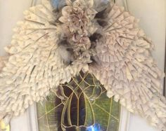 ANGEL WINGS Vintage Paper Cone Book Page Wreath