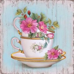 Discussion on LiveInternet – Russian Service of Online Diaries: Decoupage Vintage, Vintage Paper, Vintage Art, Decoupage Art, Tea Cup Art, Tea Cups, Diy And Crafts, Arts And Crafts, Paper Crafts