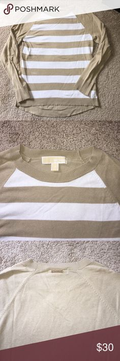 Michael Kors sweater Perfect for fall! Tan and white striped Michael Kors sweater. Michael Kors Tops