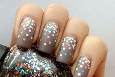 Large glitter on matte nails.