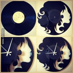 A clock made out of vinyl record.